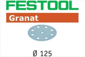 Sanding discs STF D125/8 P120 GR/100 Granat